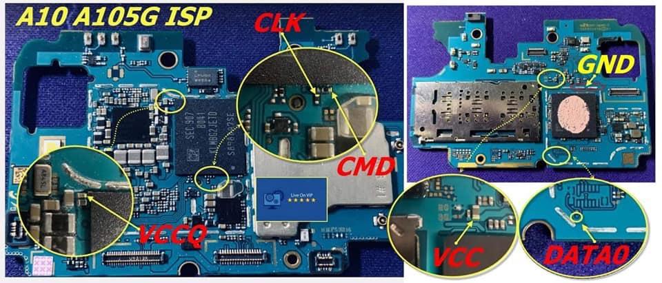 EMMC ISP pinout knox payjoy A105g A105m A105f
